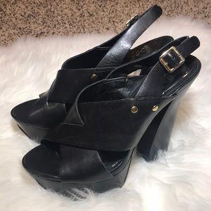 Vince Camuto chunky black slingback heels 👠